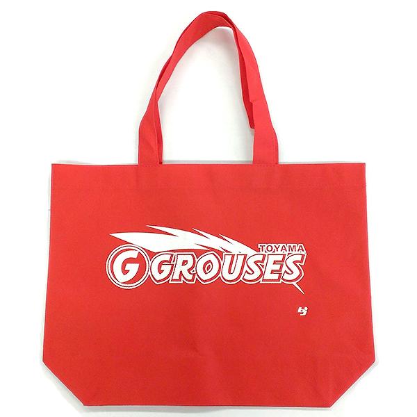 富山グラウジーズのチームロゴ入り不織布バックの写真